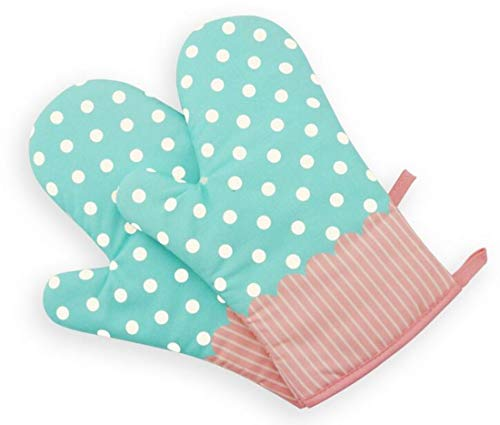 Set of Two Oven Mitts   Heat Resistant Cotton Kitchen Pot Holder Gloves for Cooking ,Barbecue,Baking,Grilling (Dotted Blue)