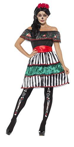 Smiffys-48077M Disfraz de señorita del día de Muertos, con Vestido, cinturón y diad, Multicolor, M-EU Tamaño 40-42 (Smiffy