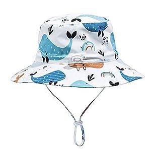 LACOFIA Sombrero de Sol bebé Gorro Verano para niños Sombrero Playa de ala Ancha Proteccion Solar para niños con Correa Ajustable para la Barbilla Ballena Blanca 1-2 años