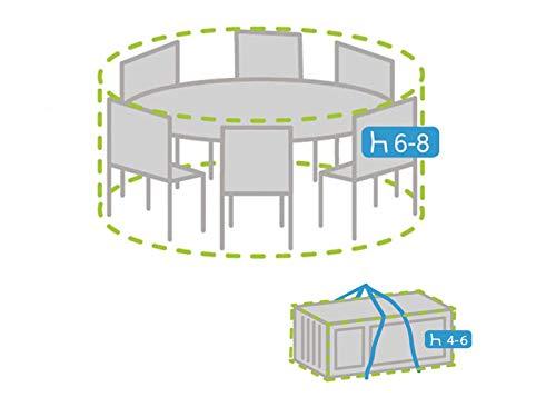Coque Set : Housse de protection ronde pour mobilier de jardin Ø 200 cm + housse pour 4–6 Coussin