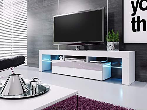BALTIC MEUBLES Meuble Banc TV Blanc Laque - 1M90 - LEDs FOURNIES