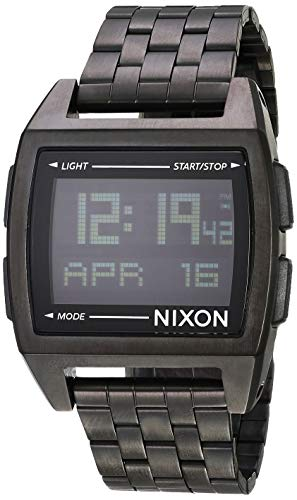 NIXON Base A1107 - All Black - 100m Water Resistant Men's Digital Fashion Watch (38mm Watch Face, 20mm Stainless Steel Band)