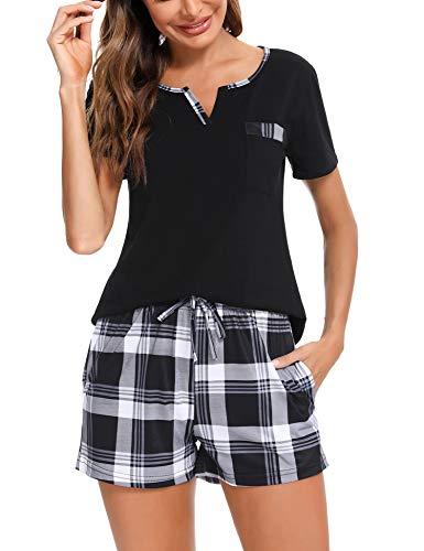 Doaraha Pijama a Cuadros para Mujer Camiseta y Pantalones Cortos Pijamas Manga Corta Celosía Ropa de Dormir de Algodón Mangas Cortas con Cuello de Muesca 2 Piezas (A#2 Negro (Pantalon Corto), XXL)