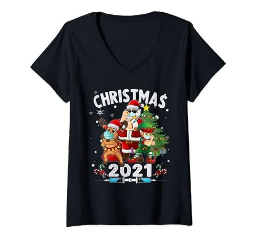 Mujer Santa Elfo y Reno Vacunados Camiseta Cuello V