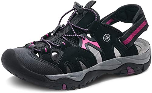 ATIKA Sandali da donna atletici da escursionismo con punta chiusa, leggeri, adatti per camminata, trailing, trekking, scarpe da acqua in estate, (W242, confezione da 1 viola), 38 EU