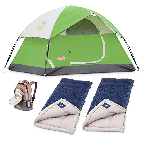 Coleman Festival Bundle: 4 Person Sundome Tent, 2 Cold Weather Sleeping Bags & Backpack Cooler