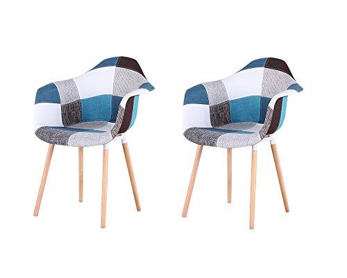 Nórdico retro casa comedor silla simple silla trasera cafe silla mesa y silla (Blue-bj, 2)