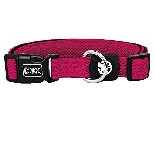 DDOXX Hundehalsband Air Mesh, verstellbar, gepolstert | viele Farben | für kleine & große Hunde | Halsband Hund Katze Welpe | Hunde-Halsbänder | Katzen-Halsband Welpen-Halsband klein | Pink Rosa, M