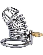 DIOH Dispositivo de Castidad Metal Dispositivo de Castidad Masculino Acero Inoxidable Cómodo Cock Cage Juego para Adultos Juguete Sexual 2.75 Pulgadas (Size : 45mm)