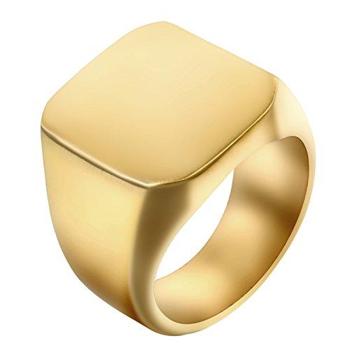 JewelryWe Schmuck Biker Edelstahl Herren-Ring, Glänzend Poliert Siegelring Quadrat Band Ring, Gold Größe 65 - mit Geschenk Tüte