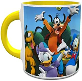 IMPRESS White and Yellow Ceramic Coffee Mug with Micky and Friends Design 1001