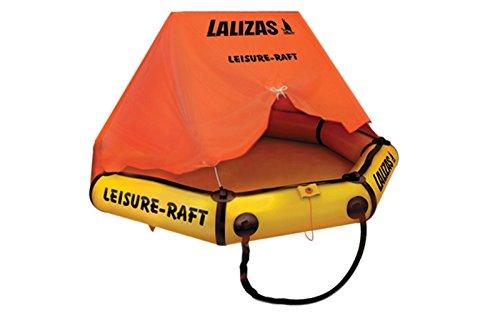 wellenshop Lalizas Rettungsinsel mit Dach Selbstaufblasend 4 Personen mit Tragetasche Orange Gelb 9,3 kg Rettungsfloß Boot Sicherheitszubehör