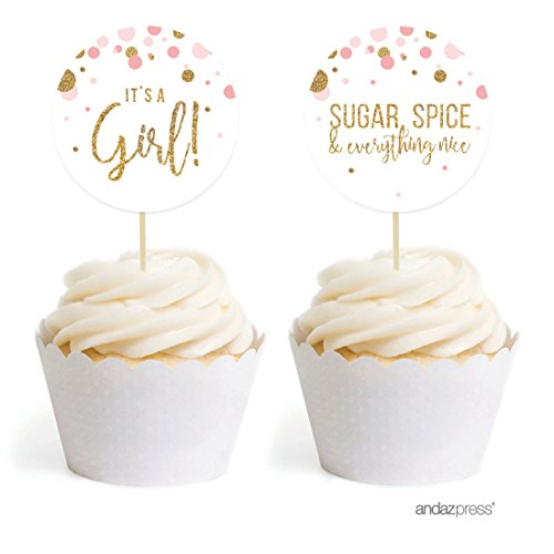 Andaz Press Blush Pink Gold Glitter Girl Baby Shower Party Collection, Round Cupcake Topper DIY Party Favors Kit, 20-Pack