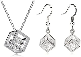 (Stly4) - Wicemoon Rhinestone Pearl Hearts and Arrows Necklace and Earrings Set--Silvery Cube Fashion Popular Jewellery Ear Studs Necklace