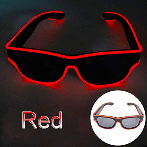 Glaray Kabellos LED Leuchtend Brille USB Wiederaufladbar LED Light Up Brillen Rave Party Leuchtende Sonnenbrille (Rot)