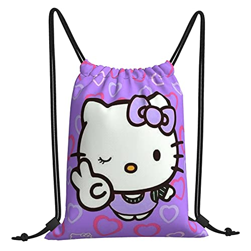 Dibujos animados Anime lindo Hello Kitty con cordón bolsas de deporte viaje gimnasio bolsa de compras unisex portátil de gran capacidad de poliéster cincha mochila