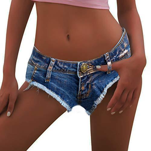 Women's Sexy Cut Off Low Waist Denim Hot Shorts Thong Cheeky Mini Booty Short Jeans