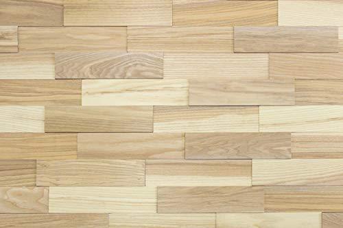 wodewa Wandverkleidung Holz 3D Esche Living Natur 1m² Wandpaneele Moderne Wanddekoration Holzverkleidung Holzwand Wohnzimmer Küche