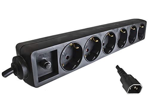 DINIC Steckdosenleiste für USV mit C14 Stecker und Überlastschutz, 6-Fach