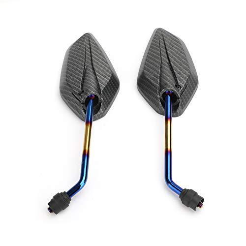 Mad Hornets Motorrad-Spiegel, Carbon, 10 mm Gewinde, universal, für Motorrad/Fahrrad/Roller, 1 Paar – CW