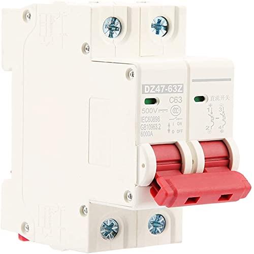 Mini disyuntor 2P MCB seguridad fotovoltaica DC 500V 63A protección interruptor de aire protección de disyuntor para circuito DC DZ47-63Z-2P