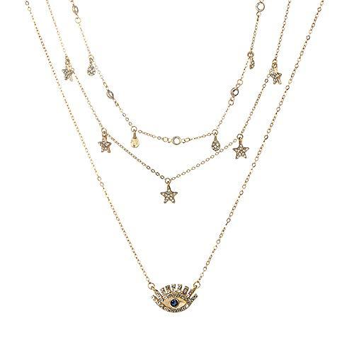 Mehrschichtkette Für Frauen Lange Kette Türkisches Auge Pendant Halsketten Trendy Crystal Star Wasser-Drohnen Halsketten