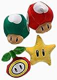 Nintendo Super Mario 7 Inch Icon Super Star, 1 Up Mushroom, Super Mushroom, Fire Flower Plush Assortment