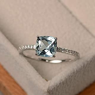 Rings Women Fashion Desgin Luxury Inlaid Stone Square Rings, Ring Size:6(Blue) Rings (Color : Light Blue)