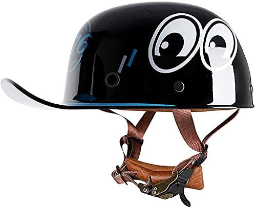 TYYCKJ Casco clásico de motocicleta con diseño de calavera de cara abierta para hombres y mujeres, gorra de béisbol ligera para modelar Cruiser Chopper ciclomotor ATV casco certificado DOT
