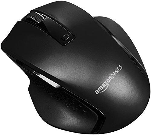 Amazon Basics – Ratón inalámbrico ergonómico compacto con rueda rápida, Negro