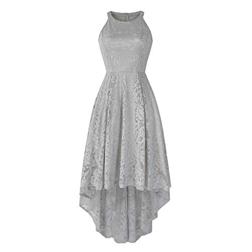 NTOW Damen Kleid Elegant Retro Rundhals Einfarbig Festliches Abendkleider Cocktail Kleider Ballkleider