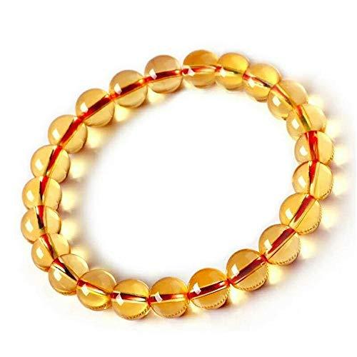 DUOVEKT 8mm Genuine Natural Yellow Citrine Crystal Bracelet for Women Men Round Beads Quartz Gemstone Stretch Bracelet AAAAA