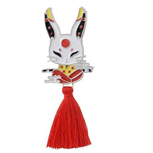 JIIJIIO Kaninchen-Maske Mit Roten Quaste Broschen Abzeichen Anstecknadel 2,7 Zoll * 1,0 Zoll