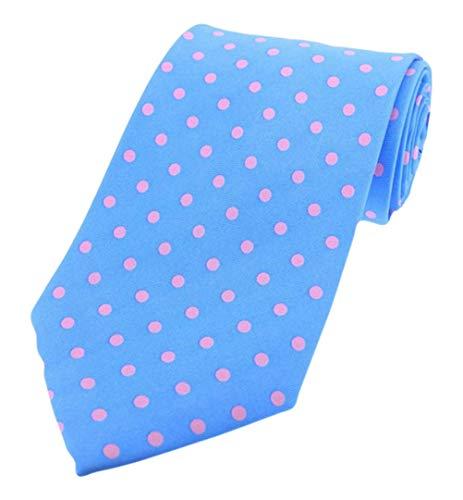 David Van Hagen Bleu/rose à pois twill de soie cravate de