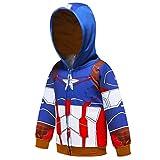 Ragazzi Felpa con Cappuccio Spiderman T-Shirt Unisex Camicie Bambino Hoodie Pullover Autunno T-Shirt Inverno Maniche Lunghe Maglietta Giacchino (C Blue,120cm)