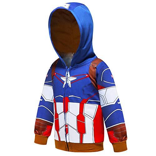Ragazzi Felpa con Cappuccio Spiderman T-Shirt Unisex Camicie Bambino Hoodie Pullover Autunno T-Shirt Inverno Maniche Lunghe Maglietta Giacchino (C Blue,100cm)