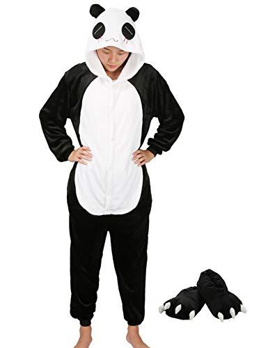 Mescara Einhorn Pyjama Kostüm Jumpsuit Cosplay Schalfanzug mit Kapuze Flanell Karton ErwachseneUnisex (Panda mit Schuhe, S: für Höhe 142-155CM)