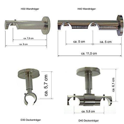 BASIT Gardinenstangenträger o. Trägerverlängerung Edelstahl Look f. 20mm Innenlaufrohr, Modell:D30 1läufig Deckenträger