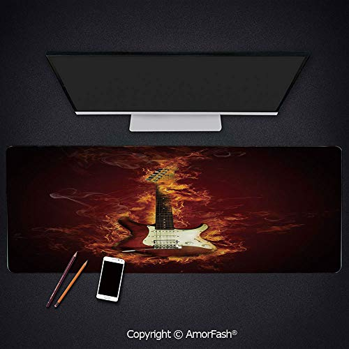 """Mouse Pad,Anti Slip Planet Mouse Mat for Desktops,Computer,PC and Laptops,35.5""""x15.8"""",Guitar,Electric Guitar in Flames Burning Fire Hardrock Musical Creativity Concept,Maroon Orange Black"""