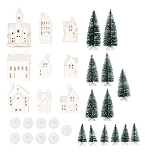 Set includes (13) sisal trees, (9) village buildings, and (18) battery-operated tea lights; Each piece is made of unglazed porcelain material with glitter accents Each festive building features cutout windows allowing for the included battery-operate...