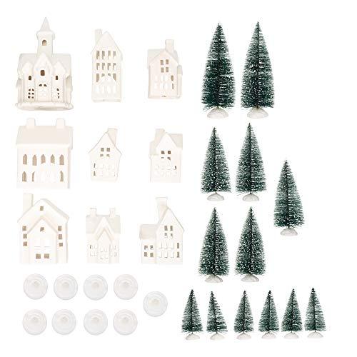 Winter Village LED Tea Light 31 Piece Porcelain Tabletop Christmas Figurine Boxed Set