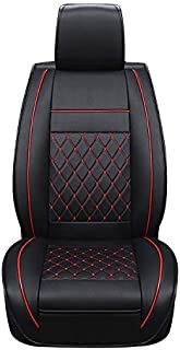 Car Leather Full Coverage Seat Cushion Cover, Standard Version, Only One Seat High Quality (Color : Black Red)