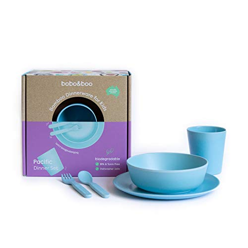 Bobo&Boo Bamboo 5 Piece Children's Dinnerware, Pacific Blue, Non Toxic & Eco Friendly Kids Mealtime Set for Healthy Infant Feeding, Great Gift for Birthdays, Christmas & Preschool Graduations