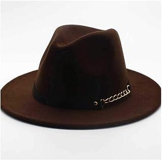 Z.L.F.J.P 2019年メンズ&レディースFedora、ウール&レザーファッションベルト、Western Jean Hat、Jean Jazz Hat (色 : Dark Coffee, サイズ : 56-58CM)