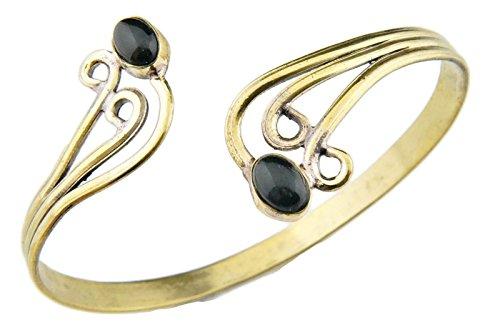 mantraroma Armreif Armband Messing golden Onyx schwarz (932-05-012-03)