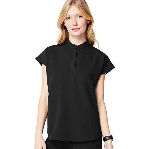 FIGS Rafaela Two-Pocket Mandarin Collar Scrub Top Women — Black, M