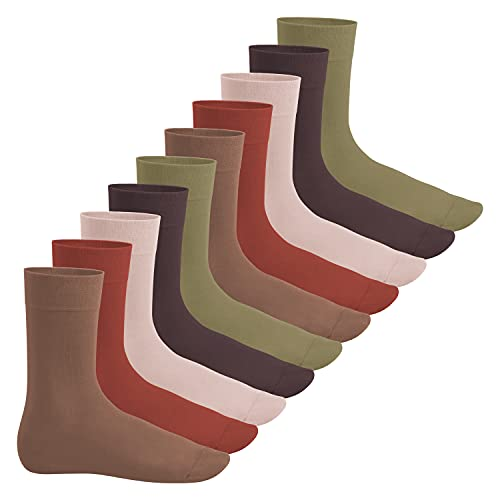 Footstar Herren und Damen Baumwollsocken (10 Paar), Klassische Socken aus Baumwolle - Everyday! - Herbstfarben 43-46