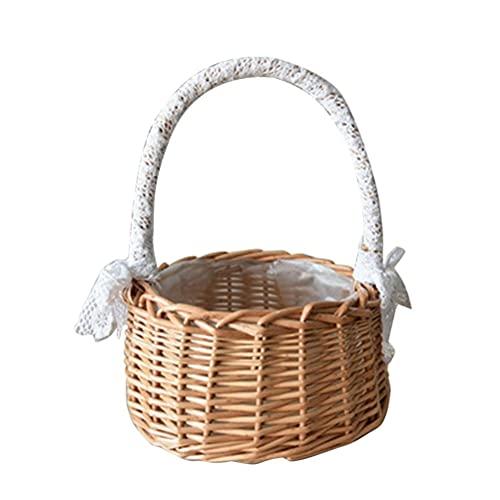 Tixiyu Cesta de mimbre de ratán para boda, cesta de flores para niña, cesta de sauce tejida a mano con asas e inserto de plástico, adecuado para fiestas, hogar, oficina, jardín
