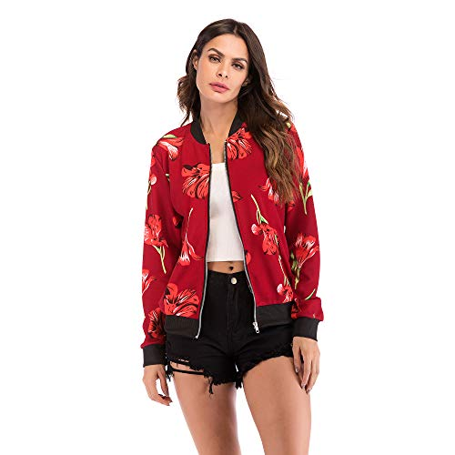 Lowest Prices! Women's Casual Floral Zip Up Bomber Coat Stand Collar Lightweight Short Outwear Printed Jacket with Pockets