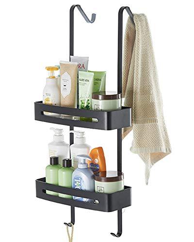 TZAMLI Duschablage ohne Bohren, Duschregal zum Hängen der Duschwand Badregal Badezimmer Regal mit Handtuchhalter und Saugnapf (Schwarz, 2 Ebenen)